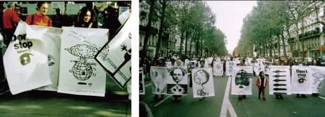 「反核FAXポスターによるデモ」(フランス・パリ)