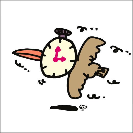 イラストレーター秋山孝が2008年に制作したイラスト「Time travel 時間旅行」