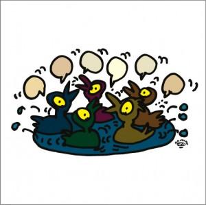 イラストレーター秋山孝が2008年に制作したイラスト「Discussion 議論」