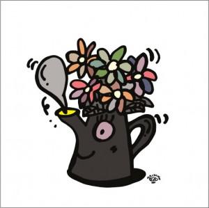イラストレーター秋山孝が2008年に制作したイラスト「Coffe break コーヒーブレイク」