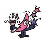 イラストレーター秋山孝が2008年に制作したイラスト「Drink 乾杯」