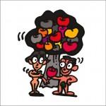 イラストレーター秋山孝が2008年に制作したイラスト「Adam and Eve アダムとイブ」