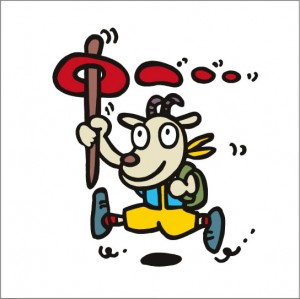 イラストレーター秋山孝が2008年に制作したイラスト「Hiker ハイカー」
