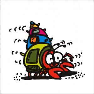 2008年に秋山孝が制作したイラスト「Hermit crab ヤドカリ」