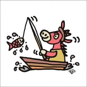 イラストレーター秋山孝が2009年に制作したイラスト「Catch 獲物」
