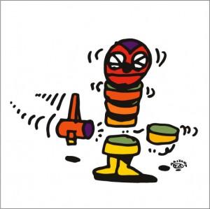 イラストレーター秋山孝が2009年に制作したイラスト「Trip up 足をすくう」