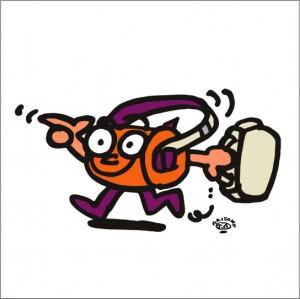 イラストレーター秋山孝が2009年に制作したイラスト「Happy-go-lucky 行き当たりばったり」
