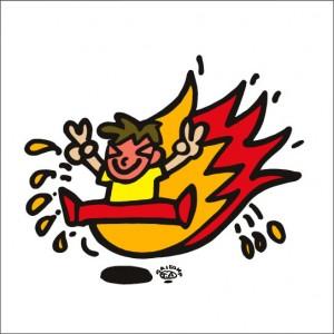 イラストレーター秋山孝が2009年に制作したイラスト「Come-from-behind victory 逆転勝ち」
