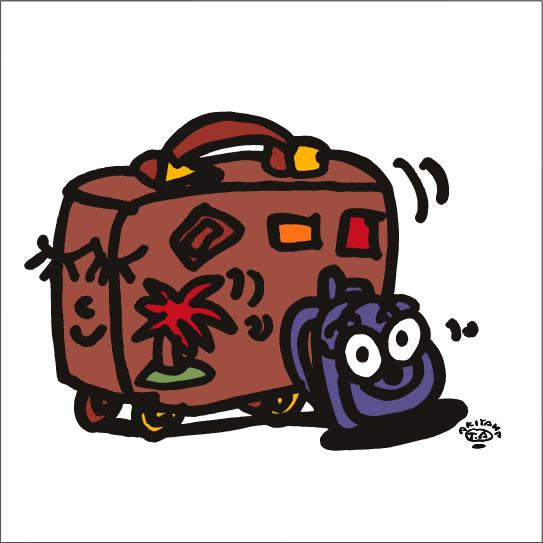 イラストレーター秋山孝が2009年に制作したイラスト「Family trip 家族旅行」