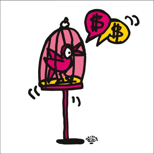 秋山孝が2009年に制作したイラスト「Twitter さえずり」