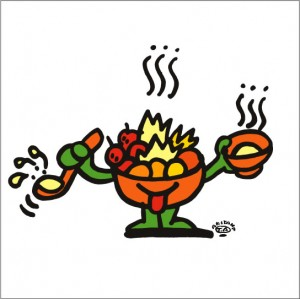 秋山孝が2009年に制作したイラスト「Hot-pot 鍋物」
