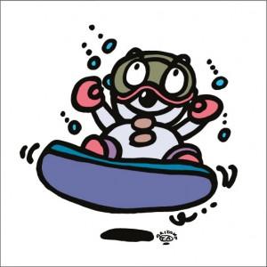 秋山孝が2009年に制作したイラスト「Snowboard スノーボード」