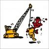秋山孝が2009年に制作したイラスト「Crane 起重機」