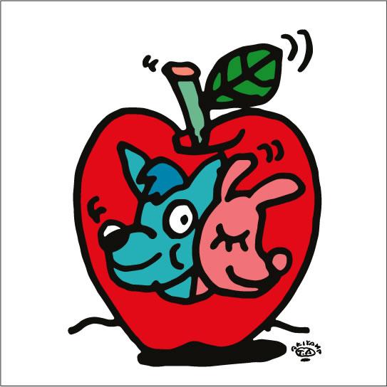 秋山孝が2009年に制作したイラスト「Adam&Eve アダムとイブ」