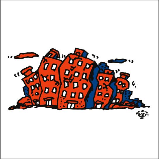 秋山孝が2009年に制作したイラスト「Earthquake 地震」