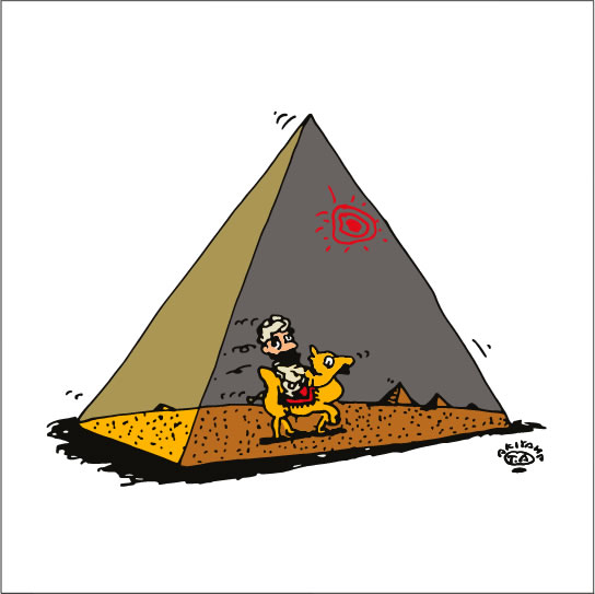 秋山孝が2009年に制作したイラスト「Pyramid ピラミッド」