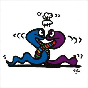 秋山孝が2009年に制作したイラスト「Uarrel between brothers 兄弟喧嘩」