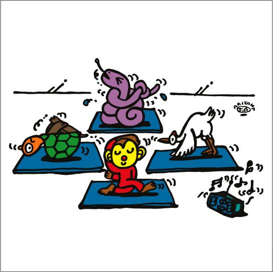 秋山孝が2009年に制作したイラスト「Yoga instructor ヨガインストラクター」