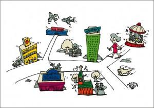 秋山孝が2009年に制作したイラスト「Y-street Y字路」