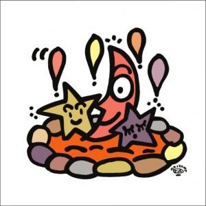 秋山孝が2010年に制作したイラスト「Mixed bathing 混浴」
