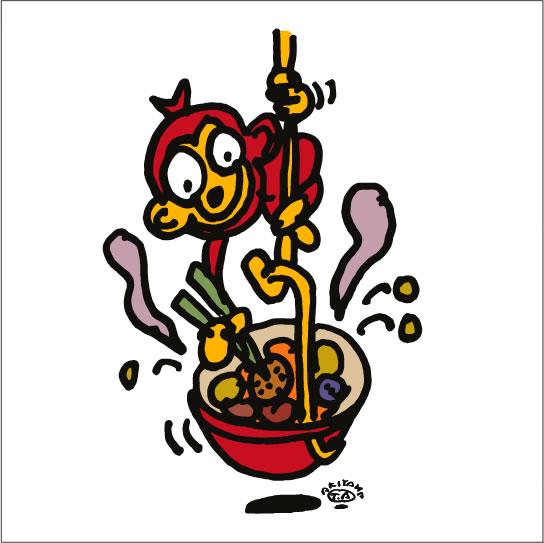 秋山孝が2010年に制作したイラスト「Tasting 味見」