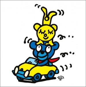 秋山孝が2010年に制作したイラスト「Open car オープンカー」