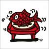 秋山孝が2010年に制作したイラスト「Red sea bream 真鯛」