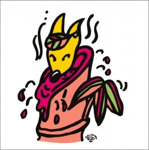 秋山孝が2010年に制作したイラスト「Spa 露天風呂」