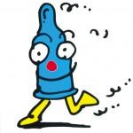 秋山孝が1992年に株式会社 オグラからの依頼により制作したキャラクターエイズキャンペーン・キャラクター コンドーム ボーイ