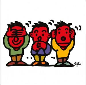 秋山孝が2010年に制作したイラスト「Three wise monkeys 見ざる聞かざる言わざる」
