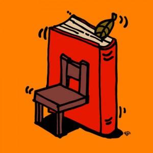 明光義塾・CRECERの為に秋山孝が制作した椅子と本のイラスト