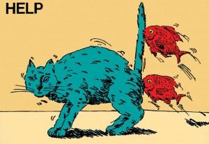 ポスターアーティスト秋山孝がエコロジーをテーマに1981年に制作したポスター「Help (cat)」
