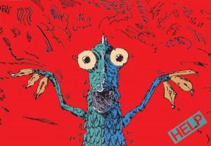 ポスターアーティスト秋山孝が1981年に制作したポスター「Help (sea monster)」