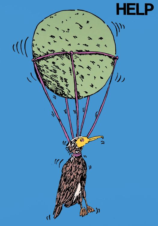 ポスターアーティスト秋山孝がエコロジーをテーマに1981年に制作したポスター「Help (cormorant)」