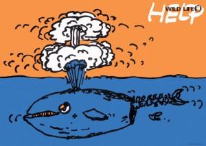 ポスターアーティスト秋山孝が1984年にエコロジーをテーマに制作したポスター「Wild Life - Help (whale)」