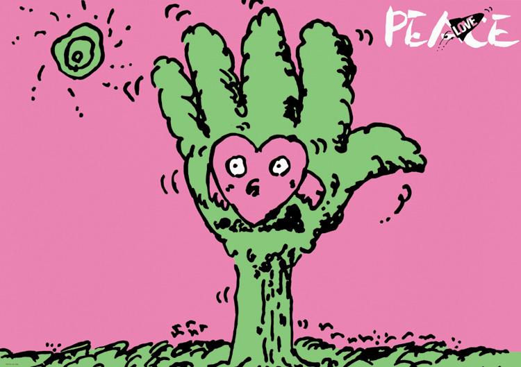 ポスターアーティスト秋山孝が1985年に社会をテーマに制作したポスター「Love Peace (hand tree)」