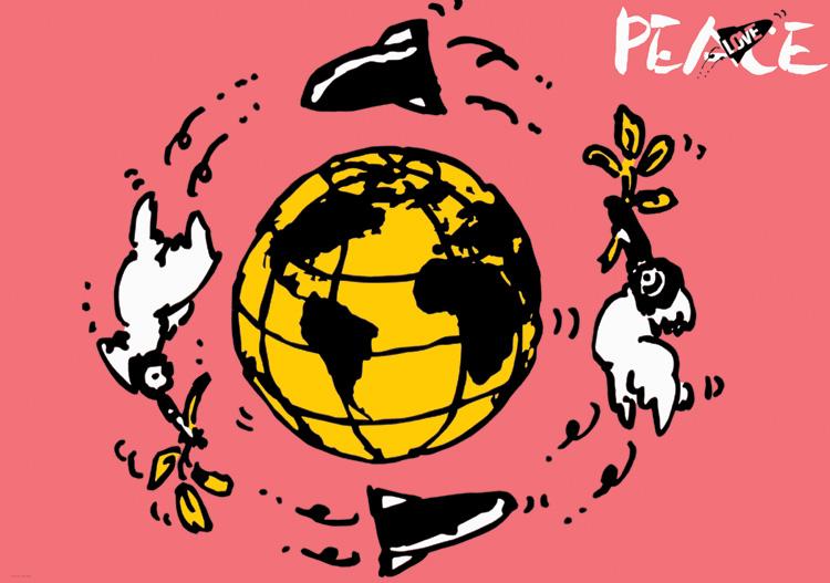 ポスターアーティスト秋山孝が1985年に社会をテーマに制作したポスター「 Love Peace (the earth)」