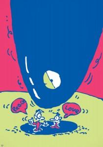 秋山孝が1986年に社会をテーマに制作したポスター「Love Peace」
