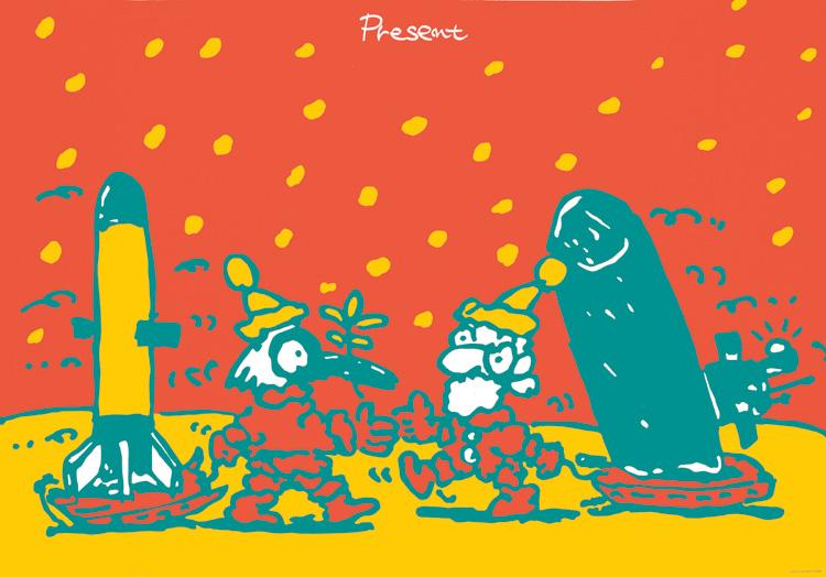 ポスターアーティスト秋山孝が1986年に社会をテーマに制作したポスター「Present (missile)」