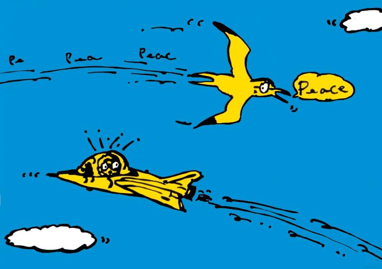 ポスターアーティスト秋山孝が1987年に制作したポスター「Pe - Pea - Peac - Peace」