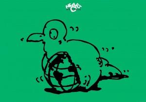 イラストレーター秋山孝が1987年に地球をテーマに制作したポスター「Sick-The Earth」