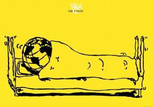 ポスターアーティスト秋山孝が1987年に地球をテーマに制作したポスター「Sick-The Earth」