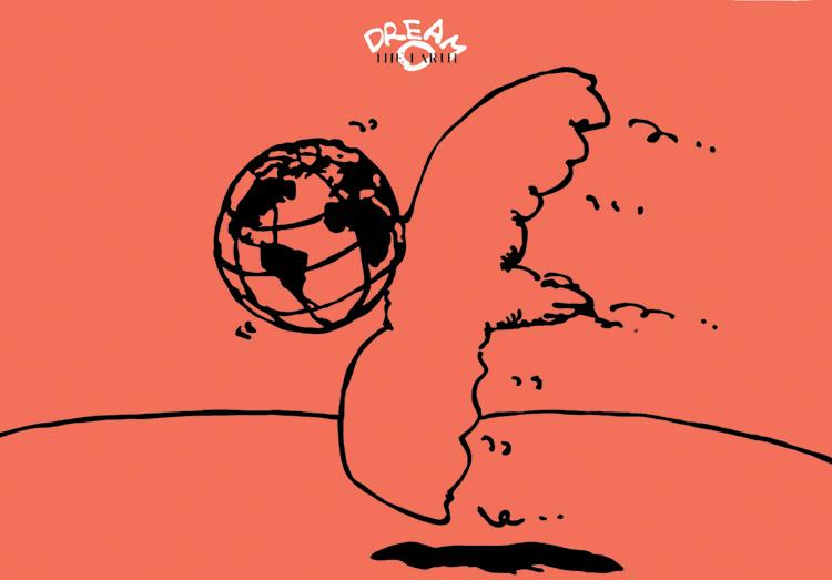 ポスターアーティスト秋山孝が1987年にエコロジーと地球をテーマに制作したポスター「 Dream - The Earth」