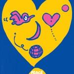 秋山孝が社会をテーマに1989年に描いたイラスト「Peace Face (face of heart)」