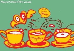 秋山孝が1989年に文化をテーマに描いたポスター「Megu Bird (jump)」