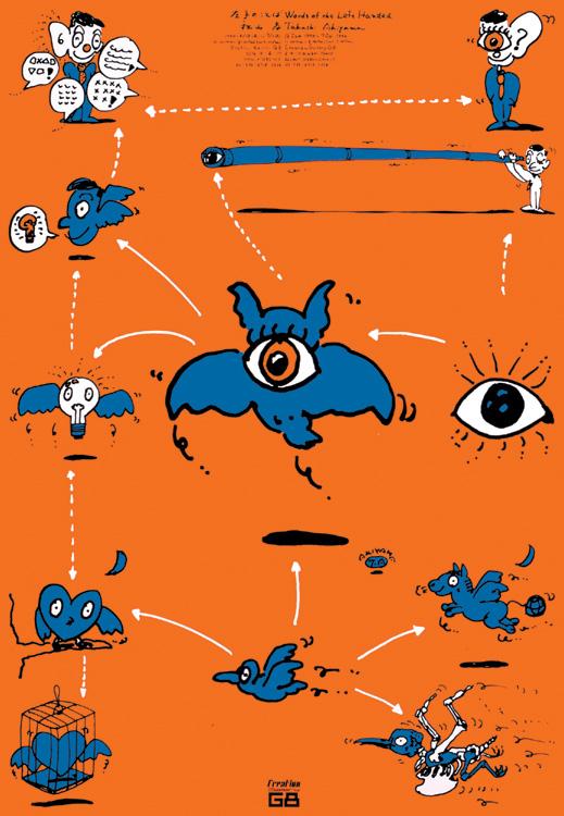 秋山孝が1990年に文化をテーマに描いたポスター「 Words of The Left Handed (family of eyed owl) 」