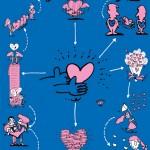 秋山孝が文化をテーマに1990年に制作したポスター「 Words of The Left Handed (family of heart)」