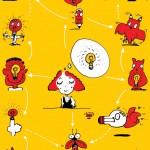 秋山孝が1990年に文化をテーマに描いたポスター「Words of The Left Handed (family of light bulb)」