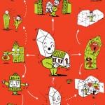 秋山孝が1990年に文化をテーマに描いたポスター「Words of The Left Handed (family of structure)」