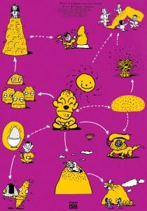 秋山孝が1990年に文化をテーマに制作したポスター「Words of The Left Handed (family of dot)」